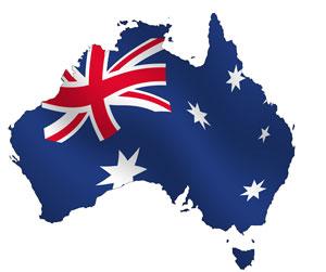 Outline of Australia with Australian flag